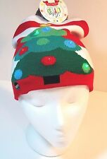 947810e43e076 Lotsa Lites Flashing Holiday Knit Cap Hat Christmas Tree