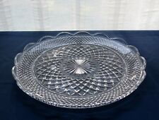 """Anchor Hocking Glass Clear Wexford 14"""" Scalloped Platter Torte Tray"""