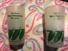 TWO OLD FORESTER MINT JULEP GLASSES,FROSTED, NEAT DERBY PARTY ITEMS