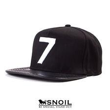 Snapback Cap Mütze Nummer Sieben Strapback Schwarz Snakeskin Schirm Black