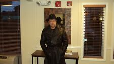 German Military Black Leather Officer's Coat  L  Made in German  Napa  leather