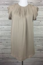 MM Couture by Miss Me Pleated Beige Fully Lined Silk Sheath Dress Size Small
