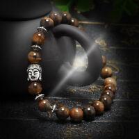 Men Women Handmade Lava Rock Bracelet Natural Gemstone Beads Buddha Head Beaded