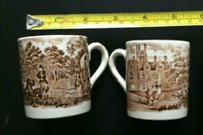 ROYAL WORCESTER AVON SCENES 1790 2 MUGS PALISSY ENGLAND BROWN 6 cm tall *b