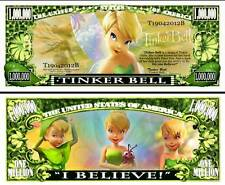 Tinkerbell Million Dollar Bill Fake Play Funny Money Novelty Note + FREE SLEEVE