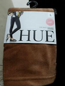 HUE Hig Waist Corduroy Leggings L 40-42, Caramel, New