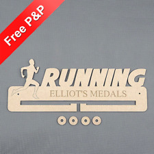 Running (Male) Medal Holder / Hanger / Rack Personalised - 4mm MDF Wooden Craft