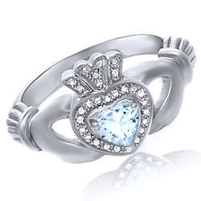 Aquamarine Claddagh Wedding Ring 14k White Gold Over Sterling Silver 925