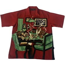 Dragonfly Dogs Playing Poker Mens Shirt Large Two Sided Dog Series Lounge Cigar