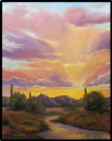 Jeff Love Art Bright Original Sunset Oil Painting Arizona Tucson Phoenix Cactus