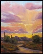 Jeff Love Art Bright Original Sunset Oil Painting Arizona Tucson Phoenix Cactus