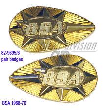 BSA a65 b25 c25 b44ss metal gaz réservoir badge emblème SET 82-9695 & 82-9696 1968 -70