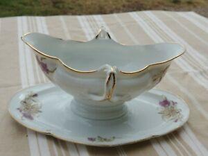 Saucière ancienne en porcelaine  charmant décor floral 19 ème