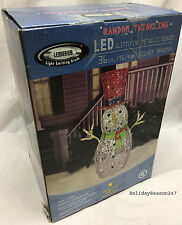 36in LED Sequin Lighted Snowman w/ Random Twinkling Christmas Holiday Yard Prop