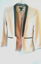 H&M BLAZER LIGHT BEIGE  FAUX LEATHER TRIM FITTED SIZE 4