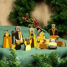 Nativity Christmas Set Unique Handcrafted World Artisan El Salvador Pinewood 11p