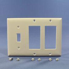 P&S Lt. Almond Decorator Toggle Switch 3G Plastic Cover Wallplate GFCI SP1262-LA
