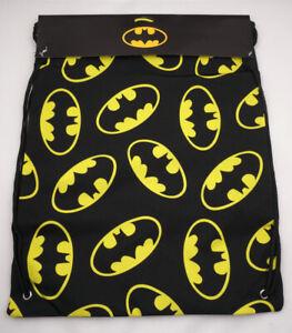 Batman Drawstring Bag Black Bat Signal Backpack DC Comics Cinch Bag New St177