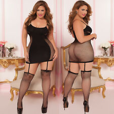 Plus Size Lingerie One Size Queen Black Hourglass Garter Chemise  STM9860X