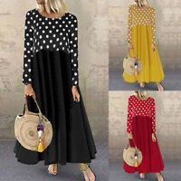 ZANZEA 8-24 Women Long Sleeve Maxi Dress Kaftan Caftan Abaya Polka Dot Dress NEW
