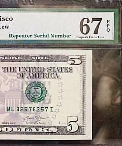 REPEATER  SERIAL # 8257 8257   2013 $5 FR Note PMG SUPERB GEM UNC 67 EPQ