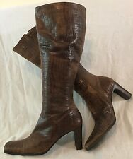 Studio G Brown Knee High Leather Boots Size 39 (453vv)