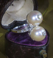 PLATINUM PEARL DIAMOND RING VINTAGE SOUTH SEA VICTORIAN ANTIQUE FINEST 9.75MM!