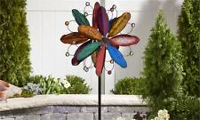 """84"""" Iron Flower Design Wind Spinner Garden Stake Multi Colored Layered 3 Pronged"""