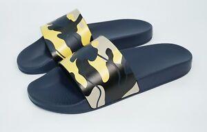 Valentino Garavani Men's Camouflage-Print Slide Sandal, Navy/Gold, MSRP $295