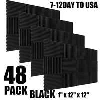 """48 Pack 12"""" X 12"""" X 1""""Acoustic Foam Panel Wedge Studio Soundproofing Wall Tiles"""