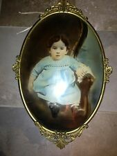 VINTAGE LITTLE GIRL FOTO PRINT PAINTING UNDER THE GLASS METAL FRAME 24 inch.
