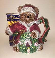 Flowers Inc Colorful Hand Painted Ceramic Holiday-Themed Bear Pitcher