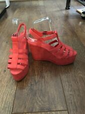 FAUX SUEDE CAGE WEDGES UK 5 H&M RED SHOES SUMMER HOLIDAY TOWIE CLUBBING BOHO NEW