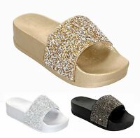 New Womens Ladies Diamante Comfy Slider Flats Shoes Slides Slippers Size UK 3-8