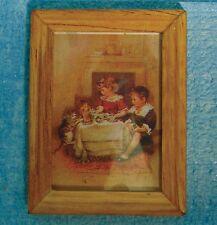 LEGNO Incorniciato Bambini & PET GATTO quadro, DOLL HOUSE miniature scala 1.12