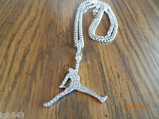 "MIP- Iced Out Silver Tone Air Jordan Jumpman pendant w/ a 24"" 4mm cuban chain"