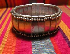 Zamac Cuff Tribal Silver Bracelet, Ethnic Gypsy Boho Beach. Stretch. No Tarnish!