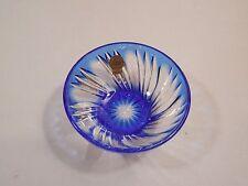 Cristal d'Arques Cobalt Blue Cut Lead Crystal Salt Bowl ~ Pinwheel ~  France
