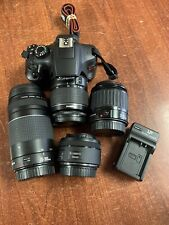 Canon EOS Rebel T6 DSLR with 18-55mm, 75-300mm, 50mm, & 35-80mm