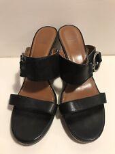 Circa Joan & David Black Slip-On Sandals 9M Wedge