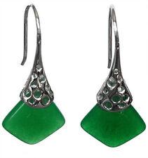 PRETTY Chalcedony/Jade Sterling Silver Dangle Cushion Earrings