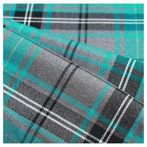 "Fashion Turquoise Tartan Polyviscose Fabric 58"" Scottish Fashion Check - Metre"