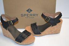 Sperry Top-Sider Womens Black Leather Dawn Echo Open Toe Wedge Sandal 7.5 M SHOE