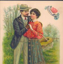 ROMANTIC VICTORIAN COUPLE EMBRACE,VINTAGE CLOTHING FASHION,HIGH QUALITY POSTCARD