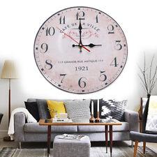 Vintage Wanduhr M Ø 28 cm Patchwork Holz Uhr groß Dekouhr Retro Küchenuhr bunt