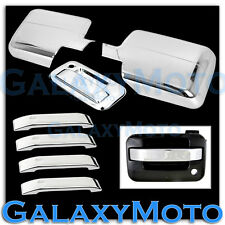 04-08 Ford F150 Chrome Mirror+4 Door Handle Lever ONLY Trim+Tailgate Cover COMBO