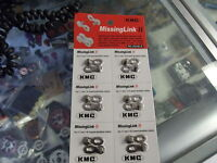 """KMC MISSING LINK II----7 AND 8 SPEED 1/2"""" X 3/32"""" BICYCLE CHAIN LINKS--CARD OF 6"""