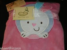 NEW BEANSPROUT BABY BLANKET BUNNY RABBIT VELOUR EMBROIDERY PINK PEM AM SOFT NWT