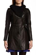 Elie Tahari Black ALEXANDRA Knit Collar Belted Lambskin Trench Coat SZ M