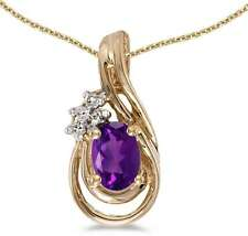 10k Yellow Gold Oval Amethyst & Diamond Teardrop Pendant (Chain NOT included)